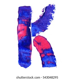 Colorful hand painted blue letter K. Oil paint. High resolution.