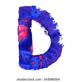 Colorful hand painted blue letter D. Oil paint. High resolution.
