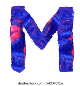 Colorful hand painted blue letter M. Oil paint. High resolution.