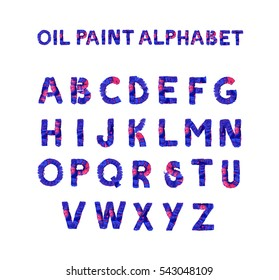 Colorful hand painted dark blue alphabet. Oil paint. High resolution.