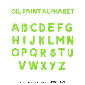 Colorful hand painted green alphabet. Oil paint. High resolution.