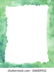 Colorful hand painted green watercolor  frame border  on  textured paper