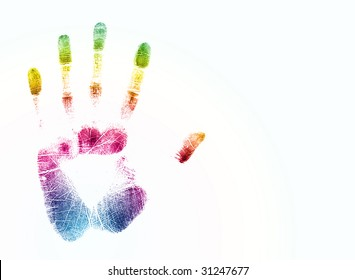 colorful hand print over white