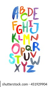 Colorful hand written alphabet painted in watercolor on white isolated background