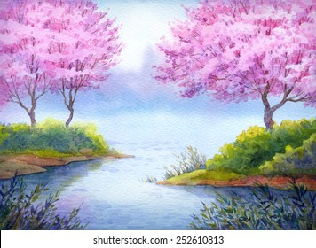 Colorful handmade bright romantic watercolour on paper backdrop card with space for text. Prime elegant fragrant fruit seedlings in bushes on islands over quiet loch in gentle calm of fresh twilight