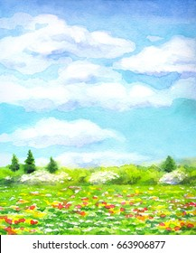 """Colorful handmade vivid watercolour on paper backdrop with space for text. Series """"Different seasons"""". Light green sunlit grassland with red, yellow, white flowers and lush bushes and firs on horizon"""