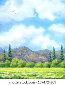 Colorful handmade watercolour paint cheerful backdrop text space. Flock of birds over light green sunlight grassland with thick grove before big high rocky mountains on horizon in warm summertime day