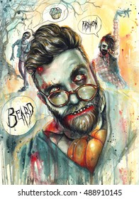 Colorful hand-painted Zombie-Hipsters Halloween illustration.