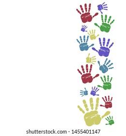 colorful handprints. Colorful hand painted. Kids handprint art or crafts. Preschool primary school design element. illustration isolated on white