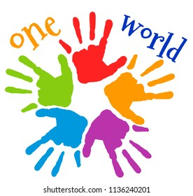 "colorful handprints ""one world"""