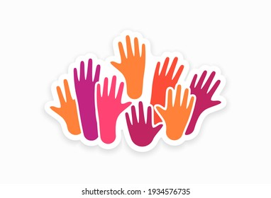 Colorful up hands. Charity teamwork concept illustration