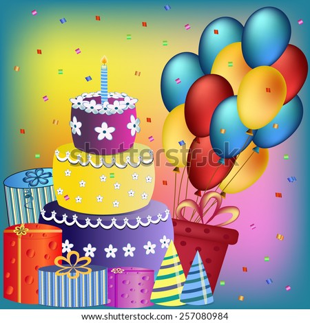 Colorful Happy Birthday Cake Balloon And Present Illustration