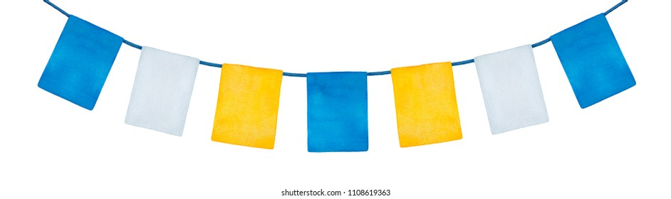 Colorful happy holiday bunting banner with blue, yellow and white flags for ornament or decoration. Hand painted watercolour drawing on white backdrop, cut out clipart. Bright, festive and cute.