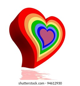 Colorful hearts for each chakra in white background