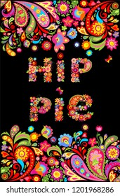 Colorful hippie flowers lettering print and floral border for summery t shirt design on black background