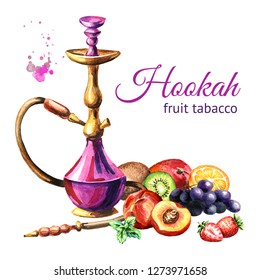 Colorful hookah with fruits. Watercolor hand drawn illustration  isolated on white background