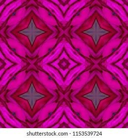 Colorful, hot pink, purple, lavender, red symmetrical geometric pattern on pink background with diamond shapes. Abstract design, illustration for wallpaper, fabric, print, wrapping paper