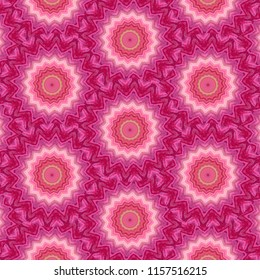 Colorful, hot pink,  red, yellow, white symmetrical geometric pattern on pink background with floral shapes. Abstract design, illustration for wallpaper, fabric, print, wrapping paper