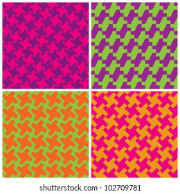 Colorful Houndstooth Patterns  in retro colors repeat seamlessly.