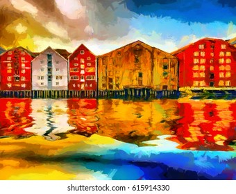 Colorful houses of Trondheim bay oil painting
