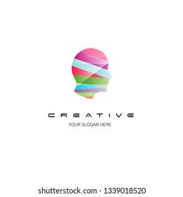 colorful human head logo design illustrations