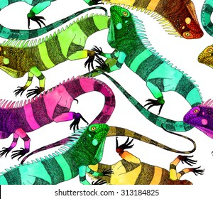 Colorful iguanas vector pattern