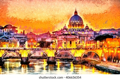 Colorful illuminated San Peter Basilica in Rome, Vatican oil painting