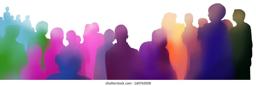 colorful illustrated silhouette of an audience