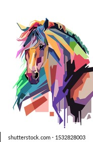 Colorful illustration art style of horse with the white background.