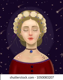 Colorful illustration of a beautiful young woman with moon phases in her braided hair and earth as a necklace. Harmony and mindfullness. Starry sky as a background