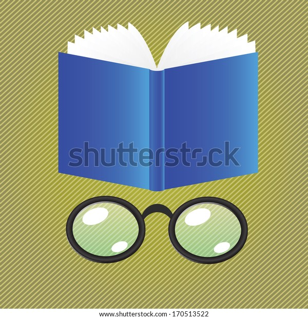 colorful illustration with book and glasses for your design