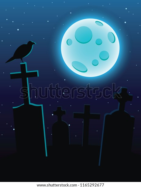 Colorful Illustration Cemetery Moonlight Over Dark Stock