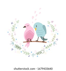 Colorful illustration of cute couple of birds in love. Can be used for childish t-shirt print, textile print, cloth, baby wear, kids room decoration, invitation, greeting card, and posters