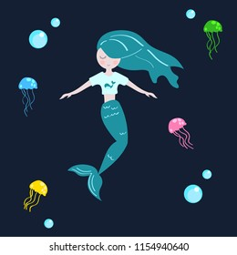 colorful illustration of cute mermaid with jellyfishes and bublles on dark background