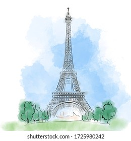 Colorful illustration of Eiffel Tower in Paris, France