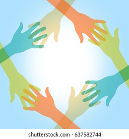 Colorful illustration of hands touching. Abstract representation of unity, diversity, assistance, help, charity, teamwork and other.