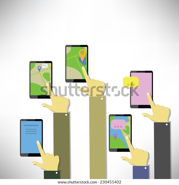 colorful illustration  Hands with touching a buttons on a white  background