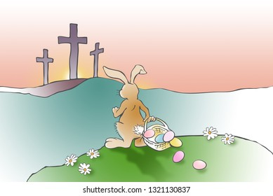 Colorful illustration of imaginary scene of the Easter Bunny, confronted by the Christian cross of Jesus Christ's crucifixion as recorded in the Bible. Simple, thought provoking art.
