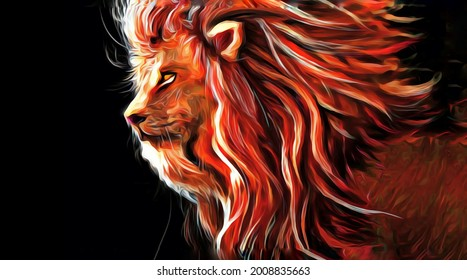 Colorful illustration of a lion head, digital illustration wallpaper of a lion king with black background
