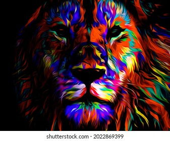 Colorful illustration of a lion head with colorful pattern isolated on black, digital wallpaper illustration of a lion King, lion wallpaper