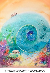 Colorful illustration of ocean with coral reef ,fishes and boat.Picture created with watercolors.