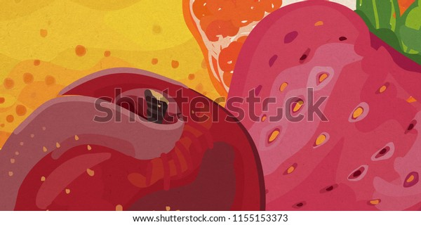 Colorful illustration of peach, strawberry, pear and a half of an orange cropped into landscape layout