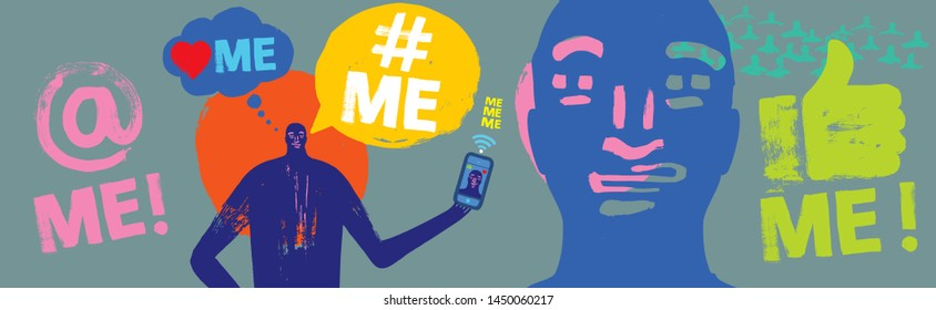 Colorful Illustration of person holding Smartphone, Me Me Me, Text, Millennial,  Concept, Face, Face App, Grunge Texture, Narcissist, Wide Format, Social Media, Symbol, Self Obsessed, Face Time