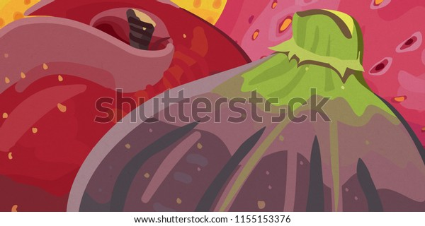 Colorful illustration of purple fig, peach, strawberry and a yellow pear
