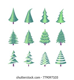 Colorful illustration set of a Christmas tree icons isolated on white background. Can be used for greeting card, invitation, banner, web design.