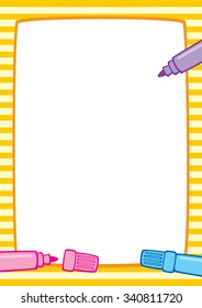 Colorful illustration of a yellow striped frame and three marker pens: pink, light blue and purple. Place for text on a white background. Format A3/A4, simple composition.