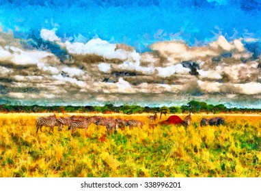 Colorful impressionist african landscape with troops of zebras oil painting