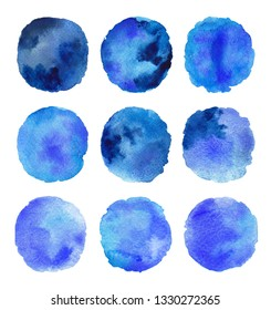 Colorful indigo cerulean and ultramarine blue abstract set brush strokes watercolor painting on white background.