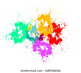 Colorful ink splashes. Shot of color paint splash, isolated on white background illustration, Colorful bright ink splashes on white background