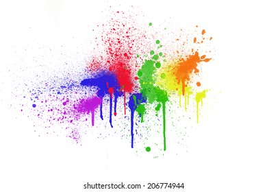 Colorful ink sprayed on white background.